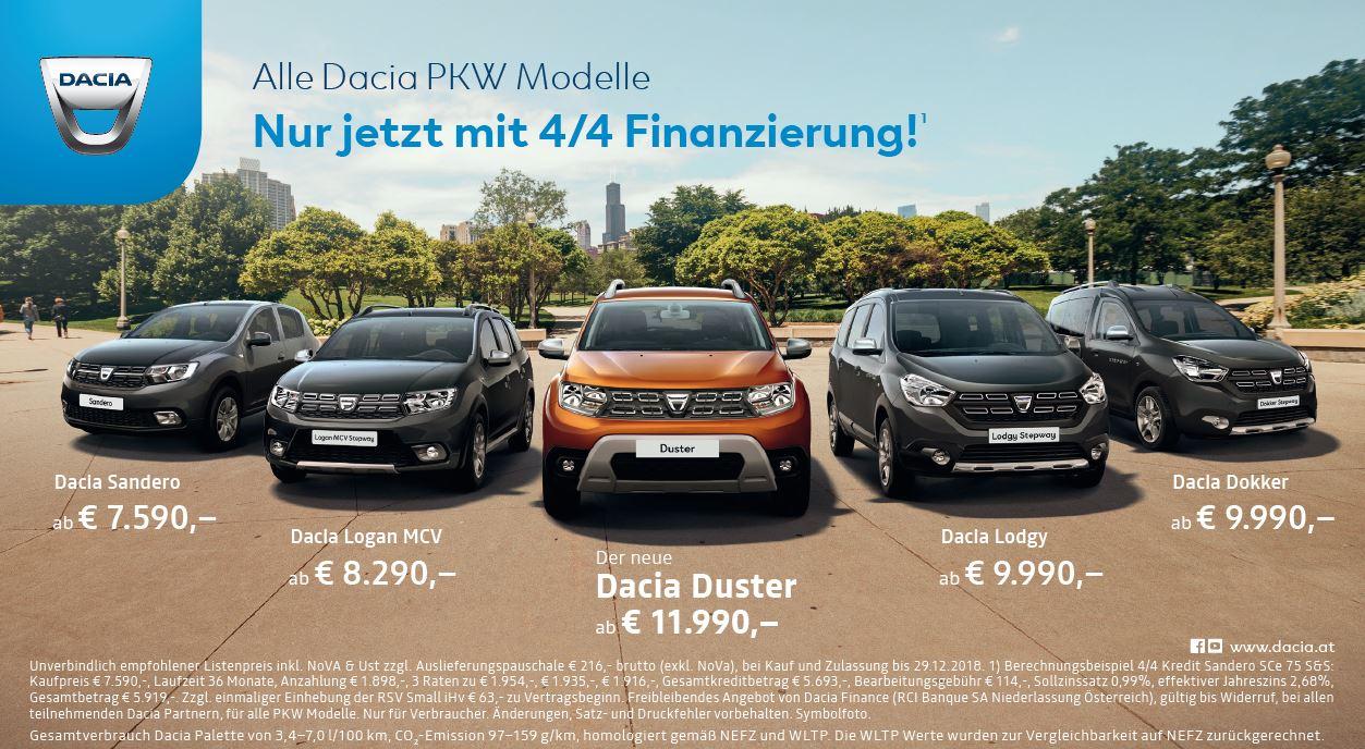 4/4 Finanzierung für alle Dacia PKW Modelle   50/50 Kredit mit 0% Fixzins