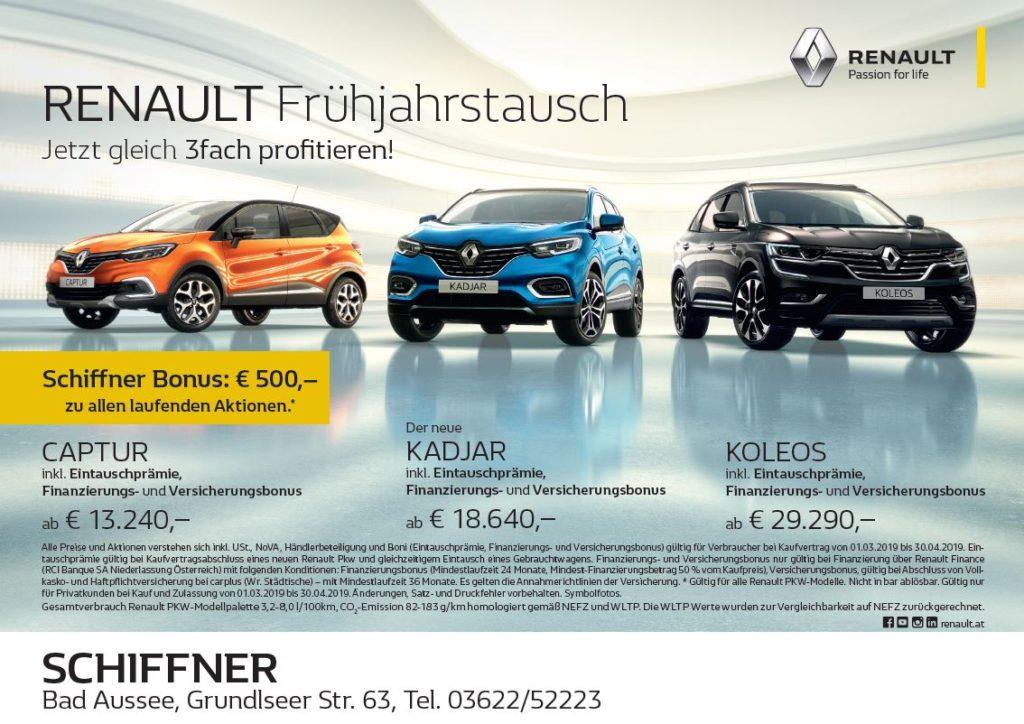 Große Eintauschprämie auf alle Renault PKW-Modelle und exclusiver SCHIFFNER-BONUS | Finanzierungs- und Versicherungsbonus | 50/50 Kredit mit 0% Fixzins