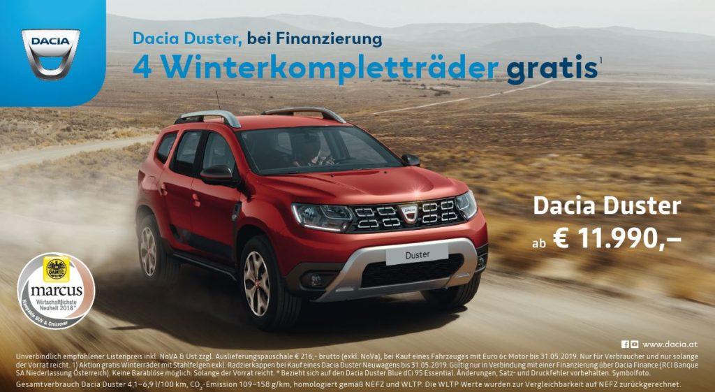 Winterkompletträder gratis bei Finanzierung für den Dacia Duster I 50/50 Kredit mit 0% Fixzins