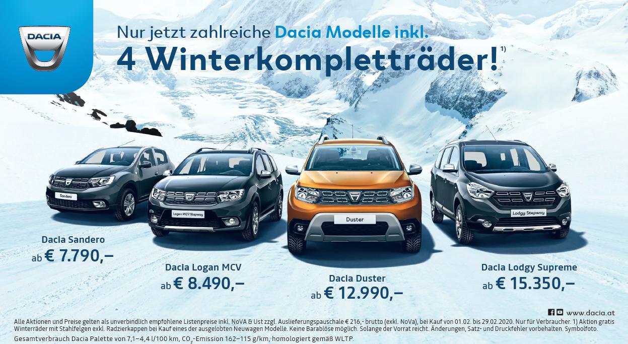 WINTERKOMPLETTRÄDER gratis zu jedem Dacia Modell   50/50 Kredit mit 0% Fixzins