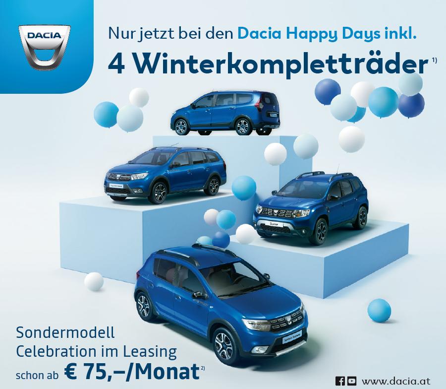 WINTERKOMPLETTRÄDER gratis zu jedem Dacia Modell | 50/50 Kredit mit 0% Fixzins
