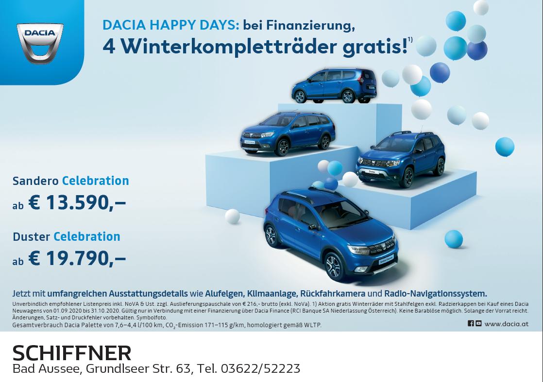 4 Winterkompletträder gratis bei Finanzierung über die Dacia Finance