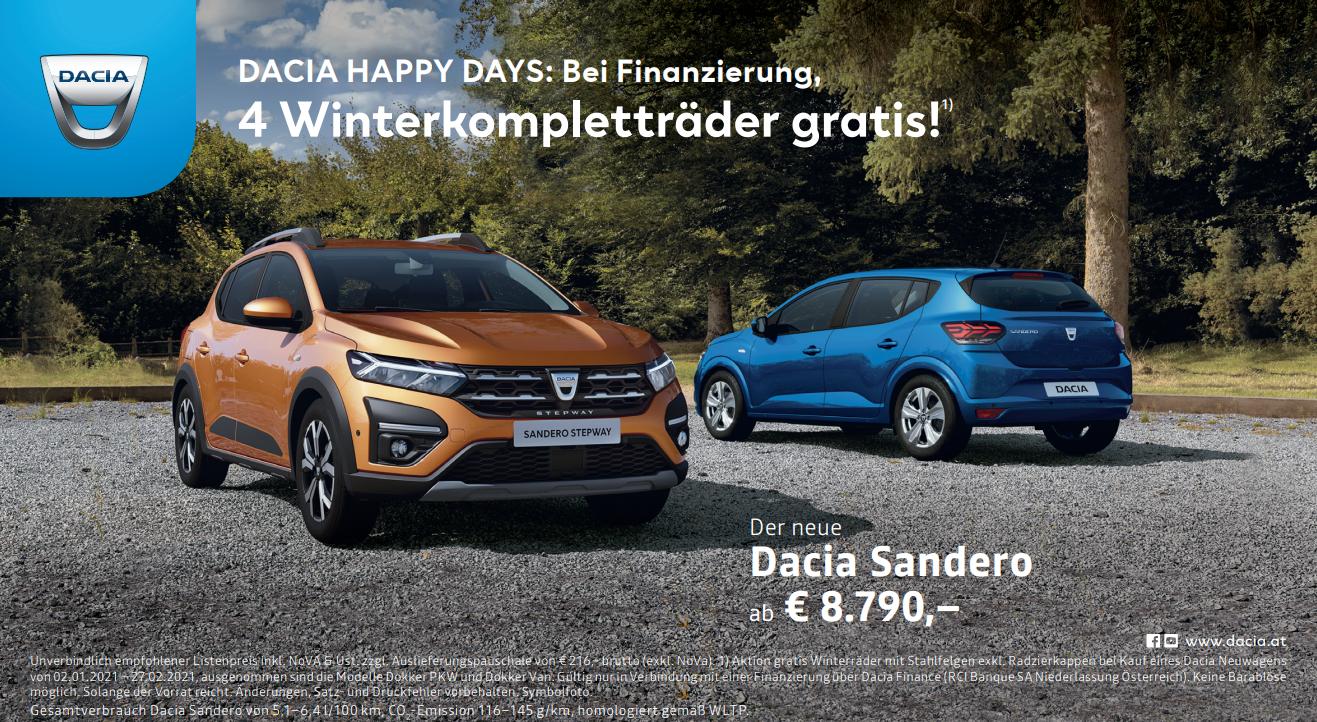 Winterkompletträder gratis bei Finanzierung über die Dacia Finance