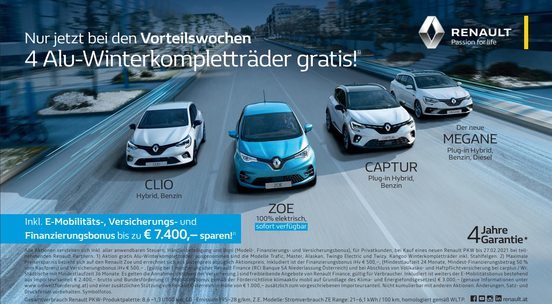 Renault HOME-Bonus im Lockdown l Alu-Winterkompletträder kostenlos l Finanzierungs- und Versicherungsbonus | 50/50 Kredit mit 0% Fixzins